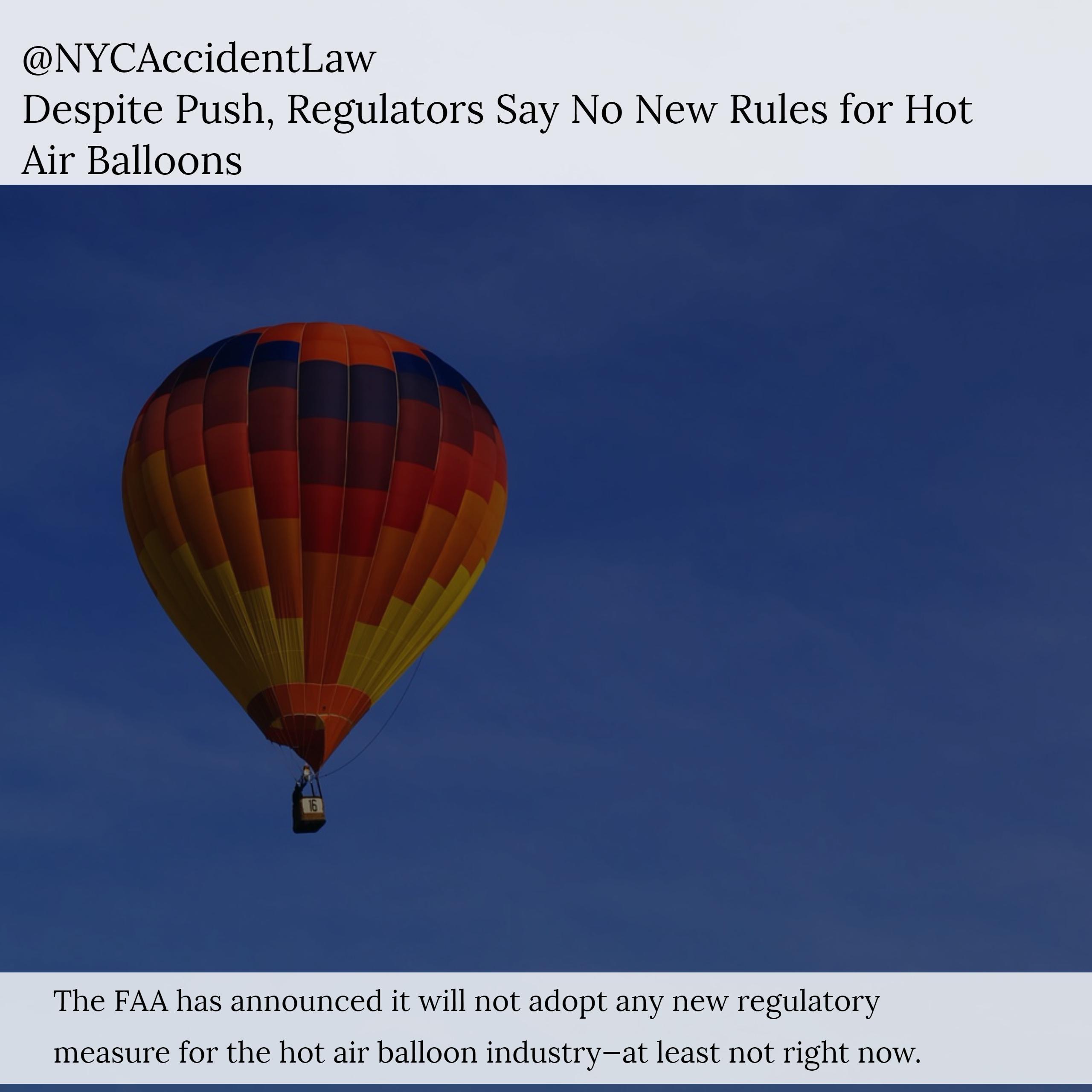 Aviation Accident Lawyer, Jonathan C. Reiter - FAA Declines to Tighten Hot Air Balloon Regulations